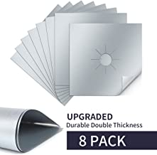Tolmnnts Stove Burner Covers 8 Pack Burner Protectors FDA Aprroved Gas Range Protectors|Reusable Stovetop Burner Liners - Heat Resistant & BPA Free and Keep Your Stovetop Clean (Silver)