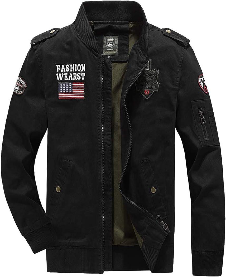 ZIHUAD Utility Jacket Men's Jacket Washed Cotton Jacket Autumn Style Men's Military Workwear Casual Autumn Jacket-C-XXL