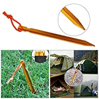 Rovtop 12Pcs Camping Tent Stakes Pegs 18cm Aluminium Alloy with Reflective Rope for Camping,Beach,Outdoor and Sand
