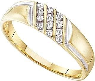 Roy Rose Jewelry 10K Yellow Gold Mens Round Channel-set Diamond Diagonal Triple Row Wedding Band 1/8-Carat tw with Custom Sizes