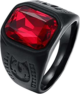 LWLH Mens Vintage Square Ruby CZ Crystal Stone Titanium Steel Ring Band Gothic Biker Knight Red Black