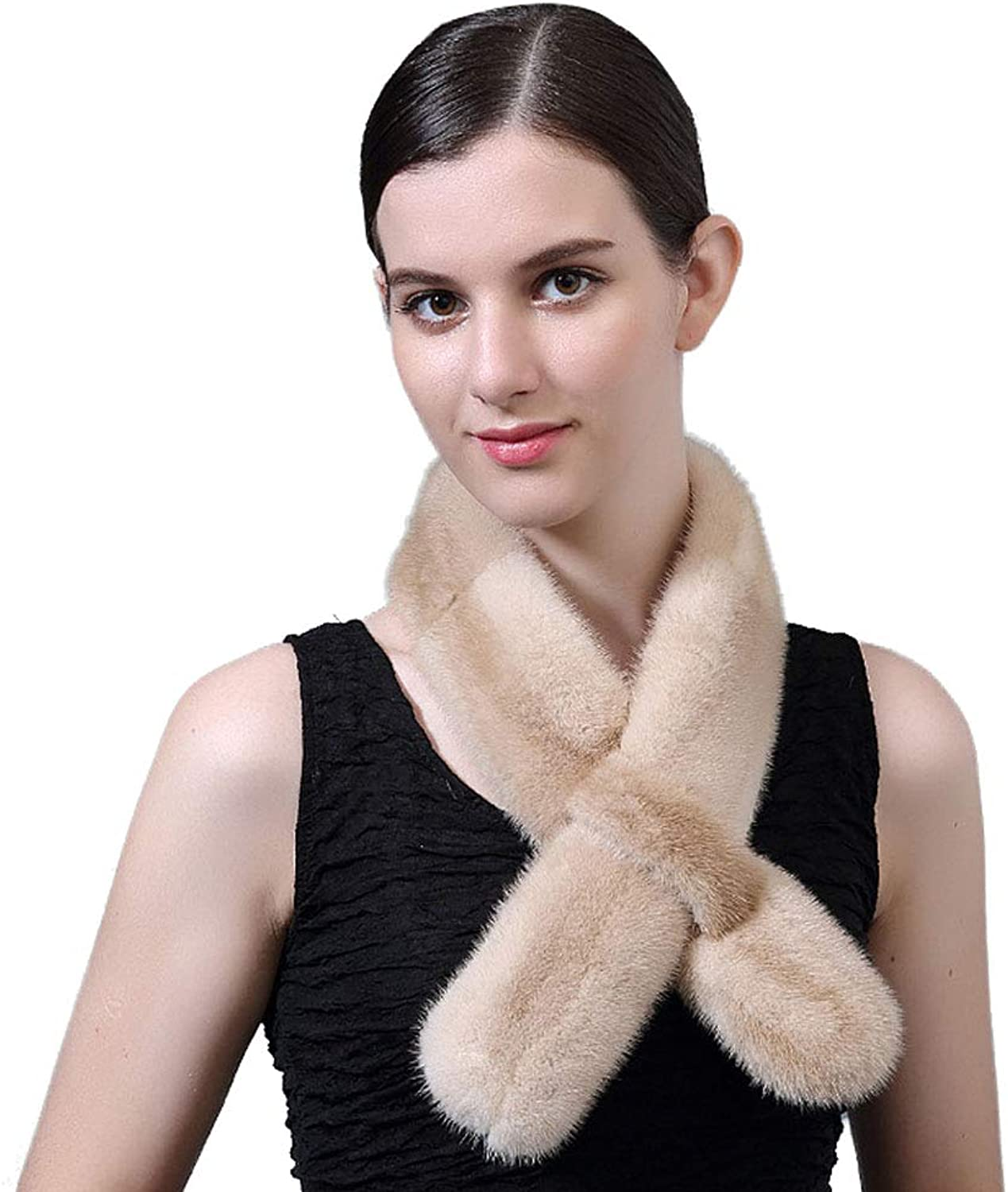 Insun Women's Soft Solid color Rabbit Fur Neck Long Winter Shawl Scarf Light Camel W x L 3 x35