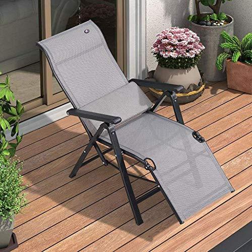 LZMXMYS Silla de salón al aire libre, sillas de jardín Tumbona cubierta plegable Silla plegable gravedad cero Tumbona, cubierta al aire libre Silla del patio resistente a la corrosión reclinable silla