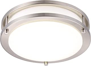 Cloudy Bay LED Flush Mount Ceiling Light,10 inch,17W(120W Equivalent) Dimmable 1050lm,3000K Warm White,Brushed Nickel Round Lighting Fixture for Kitchen,Hallway,Bathroom,Stairwell
