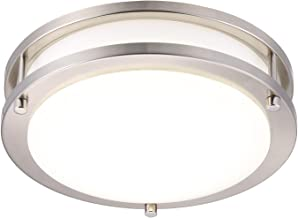 Cloudy Bay LED Flush Mount Ceiling Light,10 inch,17W(120W Equivalent) Dimmable 1150lm,3000K Warm White,Brushed Nickel Round Lighting Fixture for Kitchen,Hallway,Bathroom,Stairwell