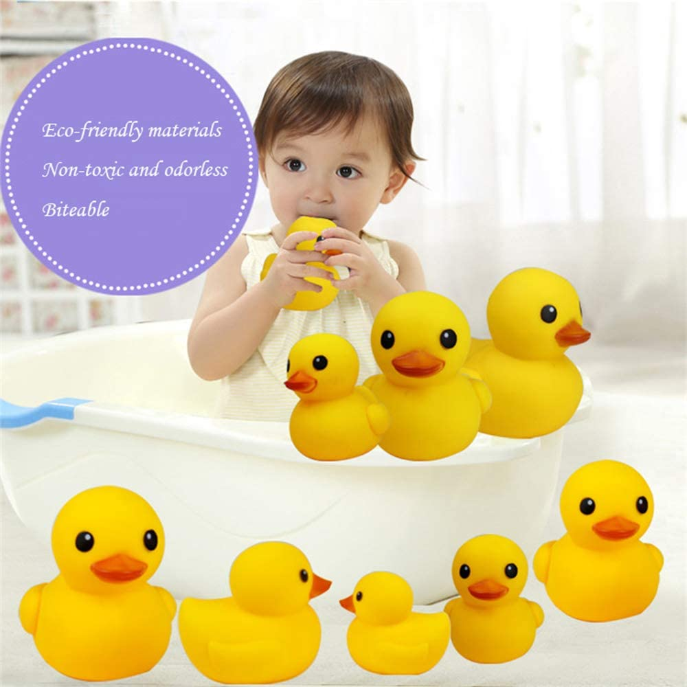 1.8 AHUA Bath Duck Toys 12 PCS Mini Rubber Ducks Squeak and Float Ducks Baby Shower Toy for Toddlers Boys Girls Over 3 Months