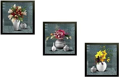 SAF Flower vase Floral 7619 Set of 3 Painting (25 x 3 x 25 cms) SANFSA7619