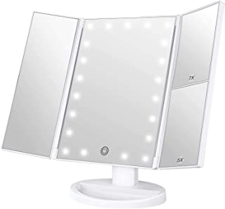 BESTOPE 化粧鏡 卓上ミラー 鏡 三面鏡 卓上 led付き 折りたたみ 拡大鏡 5倍 7倍 明るさ調節可能 180°回転 電池&USB 2WAY給電