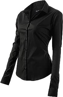 Women's Dress Shirts Long Sleeve Slim Fit Cotton Business Button Down Casual Shirt Blouses Tops for Women