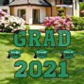 Tatuo 11 Pieces Graduation Yard Sign Decorations Congrats Graduation Lawn Signs 2021 Grad Yard Signs with 23 Stakes for Outdoor Congrats Graduation Party Decoration Supplies (Green)
