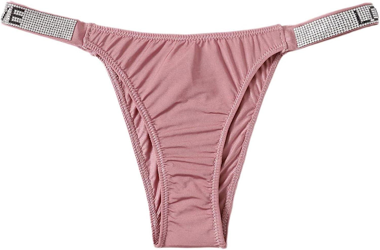 SHEIN Women's Letter Graphic Underwear Rhinestone Decor Soft Thong Panty