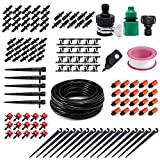 PADRAM Drip Irrigation System 82ft Drip Irrigation Kit Automatic Watering System with 1/4 Inches Blank Distribution Tubing Hose Adjustable Sprinkler Garden Saving Water Drip System Set