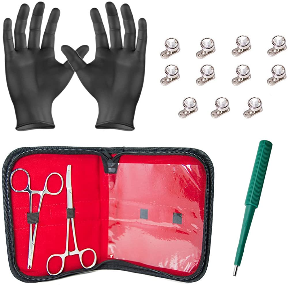 Dermal Body Piercing Kit - 2 Stainless Steel Forceps with 11 Dermal Tops with Clear Gems and 11 4mm Anchors Surgical Steel + Free Gloves, Carrying Pouch, and Dermal Punch