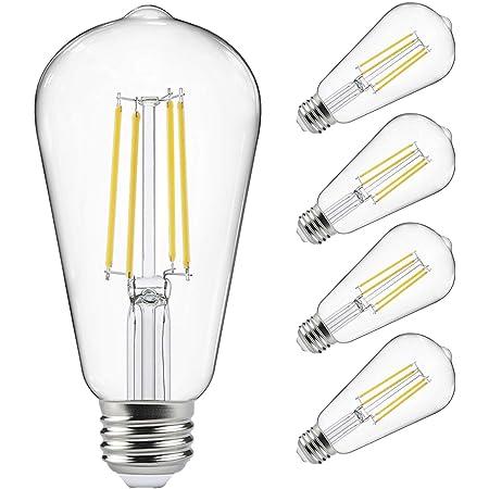 Vintage LED Edison Bulbs 60 Watt Equivalent, Eye Protection Led Bulb with 95+ CRI , Non-Dimmable, High Brightness Daylight White 4000K, ST58 Antique LED Filament Bulbs, E26 Medium Base, Pack of 4