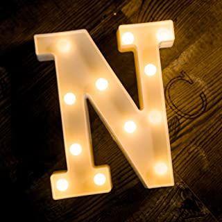 Foaky LED Letter Lights Sign 26 Alphabet Light Up Letters Sign for Night Light Wedding Birthday Party Battery Powered Christmas Lamp Home Bar Decoration (N)