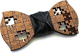 Papillon legno GIGETTO Puzzle Nodo Ecopelle Nero Made in Italy