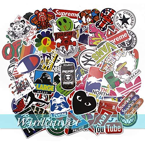 Winlauyet 100x Sticker Aufkleber für Skateboard Snowboard Koffer Notebook Auto Kühlschrankaufkleber Kofferraum Stickerbomb Sticker (Design-A)