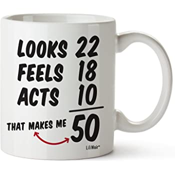 Amazon Com 50th Birthday Gag Present For Men Funny Mugs For Him Grumpy Old Man For 50 Year Old Friends Dad Husband Grandpa Coworker Kitchen Dining