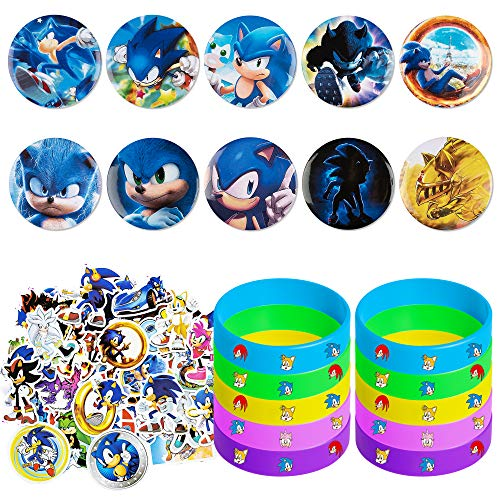 Sonic the Hedgehog Party Favors Set,70 pcs Birthday Party Supplies for Kids include 10 Sonic Pins,10 Bracelets and 50 Stickers,Best for Fill Up the Birthday Gift Bags