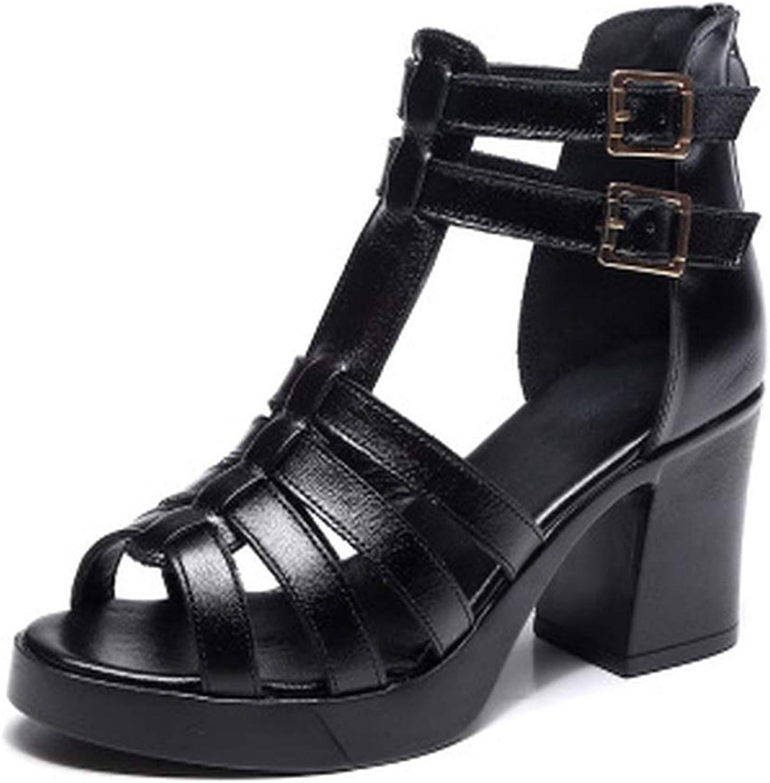 High Heels Genuine Leather 2019 Summer Buckle Female Gladiator Sandals Platform shoes Woman
