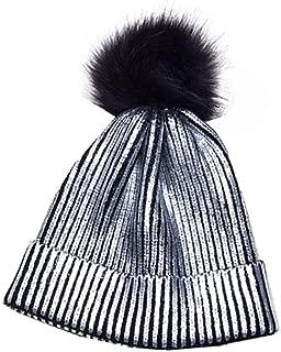 LIGICKY Winter Pom Pom Beanie Hat Metallic Color Shiny Warm Knitted Women Cap