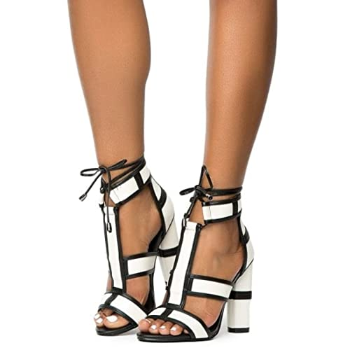 2f4fccf90de White Lace up Gladiator Heels: Amazon.com