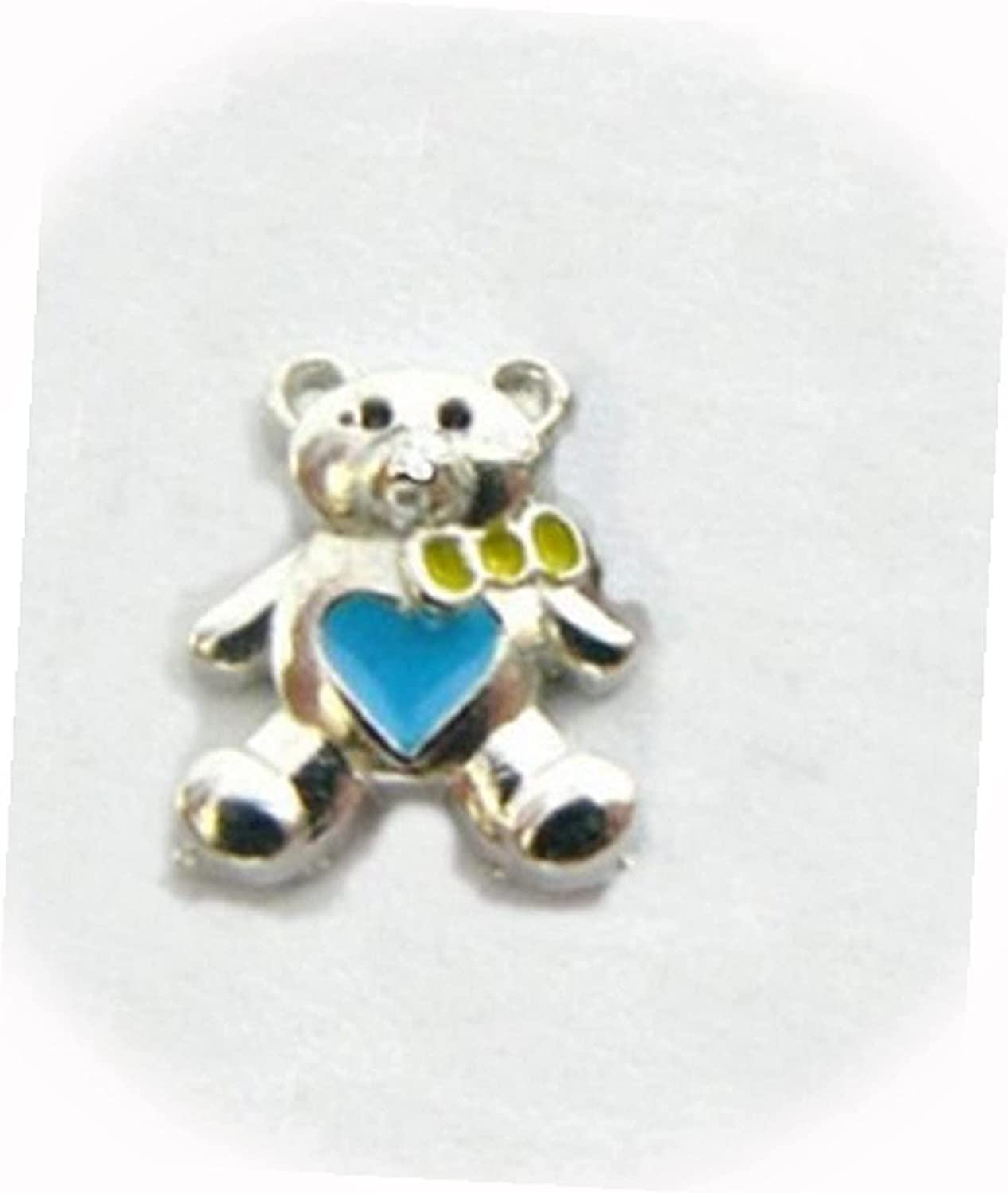 New Bear with Blue Heart Silver Floating Over item Oakland Mall handling ☆ for Memory Charm Lo 9mm