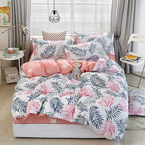 Raaooaceo Bedding Sets for Children Cartoon Simple white plant 3 Piece Bedding Sets for Teenagers 3D Bedding Kids Cartoon Anime Bedding Sets (Double size 200 x 200 cm) -Simple duvet cover for beddin