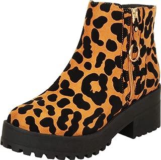 Cambridge Select Women's Side Zip Retro 90s Chunky Lug Platform Block Heel Ankle Bootie