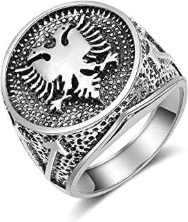 Vintage Double Eagle Rings for Men Ancient Silver Punk Viking Ring Hip Hop Style Birthday Gift Dainty Jewelry,9