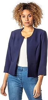 Roman Originals Womens Cropped Bolero Jacket Shrug - Ladies Tailored Jacquard Fitted Short Blazer Round Collar Smart Casua...