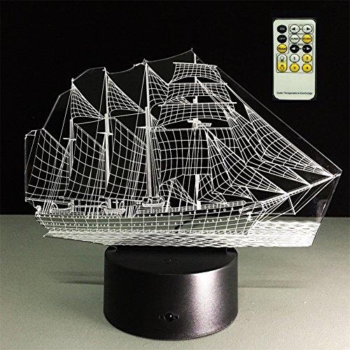 SmartEra Smart Home 3D Colorful Sailing Night Light,Simple Fashion Mood Sailing Boat Wireless Remote Control Lamp