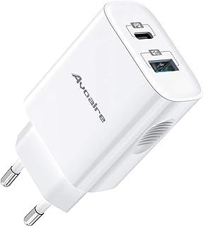 Avoalre iPhone Ladegerät 20W Schnellladegerät, 2 Port USB C + USB A Netzteile für Handys, Power Delivery Ladegerät für iPh...