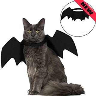 lonko5DING 2019New Cat Bat Costume,Halloween Cat Bat Wings for Pets,Cat Halloween Collar Pet Apparel for Small Dogs and Cats,Comfort Material Pet Costume for Halloween