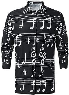 MogogN Mens Floral Print Button Down Long Sleeve Slim Fashion T-Shirt