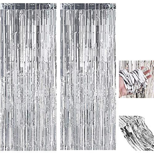 2 piezas de cortina de lámina de borla metálica, cortina brillante con flecos brillantes, cortina plateada brillante para decoración de fiestas, bodas,decoración de Año Nuevo (1 mx 2,5 m)