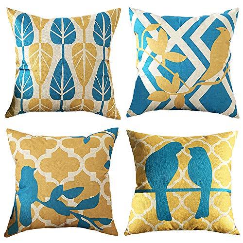 Ufamiluk 4er Set Kissenbezüge Baumwolle und Leinen Muster Vogel Kissenhülle Platz Dekoration Für Sofa Home Auto 45x45 cm