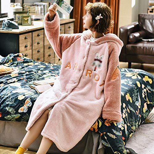 HYM Bata De Invierno para Mujer, Albornoz con Capucha De Franela Pijama De Lana De Coral Pijama Gruesa Y CáLida para Mujer Larga DuracióN,Bunny-XL
