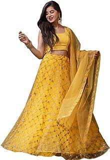 Nena Fashion Women's Net Semi-stitched Lehenga Choli With Blouse Piece (lehengha choli_Yellow_Free Size)