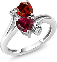 Gem Stone King 1.89 Ct Heart Shape Red Garnet Red Created Ruby 925 Sterling Silver Ring (Available 5,6,7,8,9)