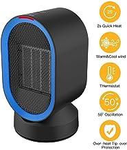 YAUUYA Portátil Calefactor Eléctrico Mini Calentador de Ventilador Personal 2 Modo 600W PTC Cerámica Oscilación 45° Automática Calefactor Aire Frio y Caliente para Hogar Oficina