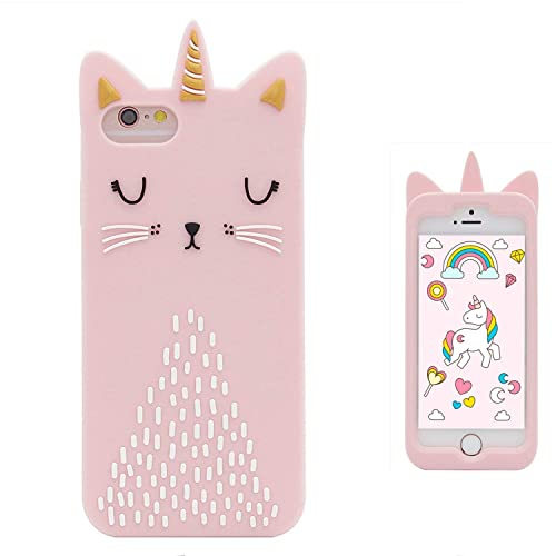 Leosimp Unicorn Cat Case for iPhone SE 5 5S 5C,Cute 3D Pink Cartoon Animal Cover,Kids Girls Boys Fun Phone Cases Special Soft Silicone Kawaii Cool Character Unique Protector Skin Cases for iPhone5