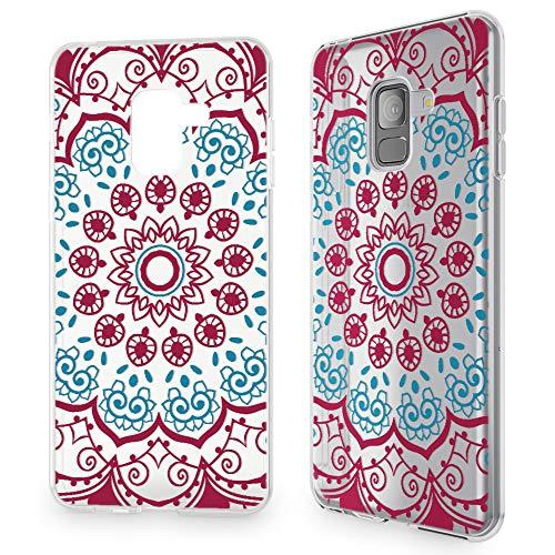 NALIA Hülle kompatibel mit Samsung Galaxy A8 (2018), Slim Handyhülle Motiv Silikon Hülle Cover Crystal Schutzhülle Dünn, Muster Etui Handy-Tasche Backcover Bumper, Designs:Red Mandala