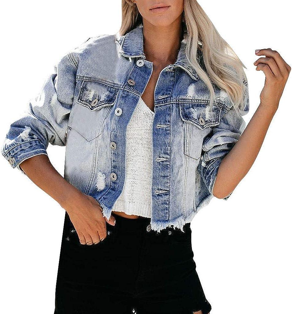 ManxiVoo Women's Stretch Denim Jacket,Basic Button Down Ripped Frayed Hem Denim Jean Jacket Coat