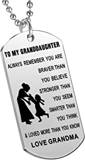Nimteve Inspirational Gifts Granddaughter from Grandmother Grandfather Always Remember You are Braver Stronger Smarter Gir...