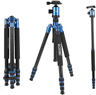 ZOMEi Tall Tripod,Camera Tripod for DSLR, Z818 Tripods for Cameras 65'' Aluminium Alloy Monopod with 360 Panorama Ball Head Quick Release Plate Ball for DSLR Canon Sony Nikon Cameras(Blue)