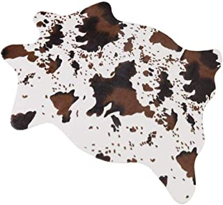 Ivalue Cow Print Rug Faux Cowhide Area Rug Small Soft Fuzzy Fur Throw Rug Sofa Chair Cover 3.6x2.5 Feet Beside Rug for Living Room Bedroom (2.5ft x 3.6ft, Brown)