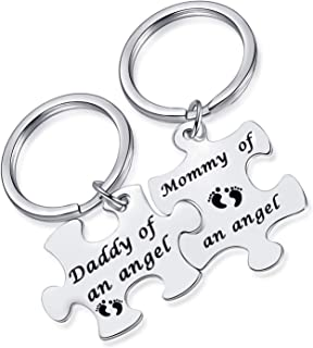 MIXJOY Miscarriage Gifts Baby Loss Memorial Keychain Mommy Daddy of an Angel Infant Loss Key Chains
