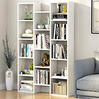 Tribesigns Modern Bookcase, 5-Shelf Storage Organizer Bookshelf with 14-Cube Display Book Shelf for Home Office, Living Room and Bedroom (White)