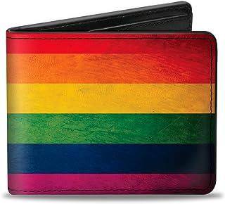 Buckle-Down PU Bifold Wallet - Flag Pride Distressed Rainbow